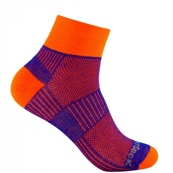 Wrightsock Coolmesh II Quarter | Dünn | Königsblau-Orange