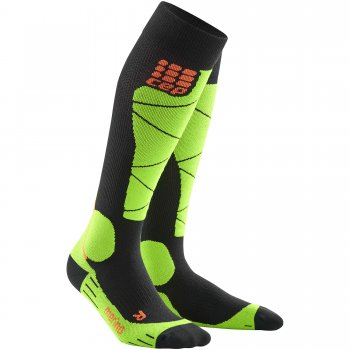 CEP Ski Merino Compression Socks Herren | Black Lime