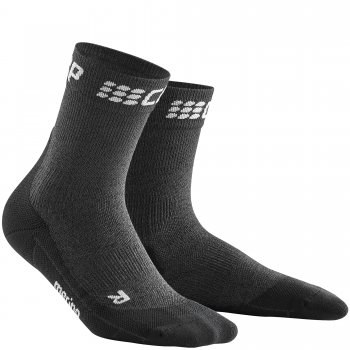 CEP Run Merino Winter Short Cut Compression Socks Herren | Grey Black