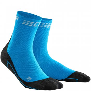 CEP Run Merino Winter Short Cut Compression Socks Herren | Electric Blue
