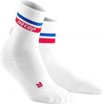 CEP Run 3.0 - 80's Compression Mid Cut Socks Damen | White Red Blue
