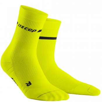 CEP Run 3.0 Neon Mid Cut Compression Socks Herren | Neon Yellow
